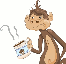 Cartoon Monkey With A Morning Coffee