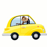 Cartoon Monkey Driving Car.
